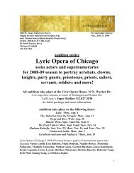 audition notice Lyric Opera of Chicago seeks actors and ...