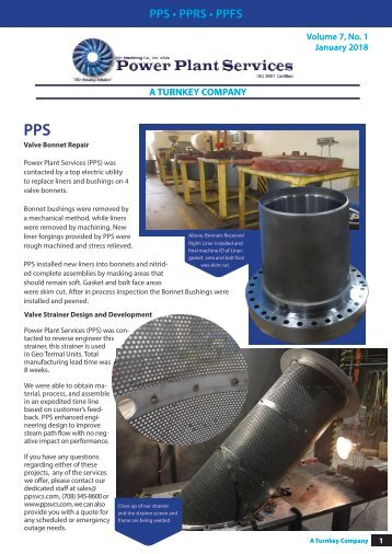 Power Plant Services Newsletter Jan. 2018