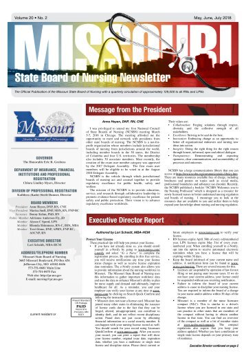 Missouri State Board of Nursing Newletter