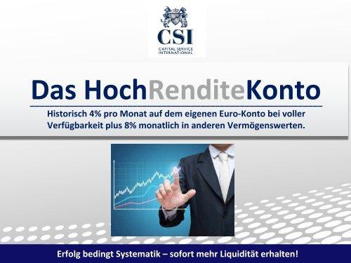 Hoch-Rendite-Konto mit historisch 4% mtl. auf dem eigenen Konto!
