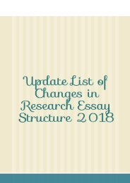 Update List of Changes in Research Essay Structure 2018