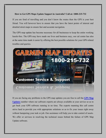 Get Garmin GPS Map Updates free Call Toll Free No. 1800-215-732