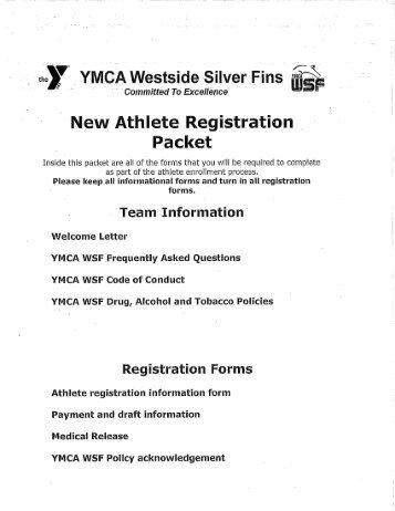 New Swimmer Packet - YMCA Westside Silver Fins