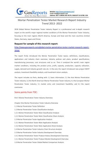 Mortar Penetration Tester Market Research Report Industry Trend 2013 -2022