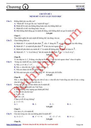 Ngân hàng câu hỏi trắc nghiệm Toán - 5 Chương - Lớp 10 - Lời giải chi tiết (218 trang)