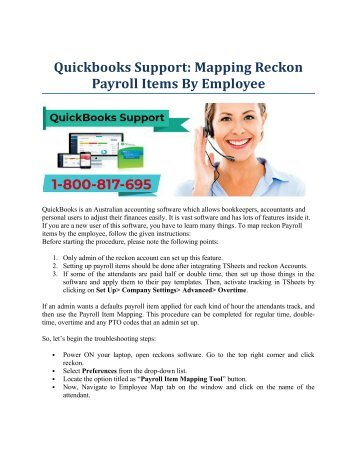 QuickBooks Support: Mapping Reckon Payroll Items By Employee