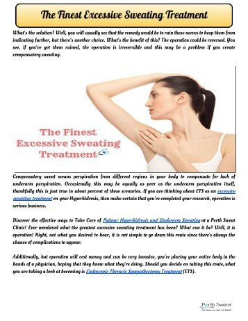 The Finest Excessive Sweating Treatment
