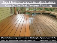 Deck Cleaning Services in Raleigh, Apex, Cary NC by Peak Pressure Washing