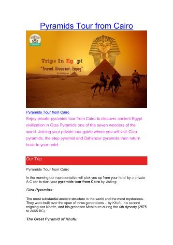 Pyramids Tours from Cairo
