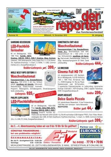 der reporter - Das Familienwochenblatt für Fehmarn 2012 KW 46