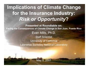 Implications of Climate Change for the Insurance Industry: Risk or ...