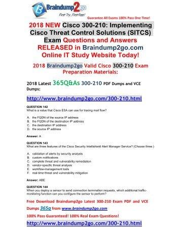 [2018-April-New]300-210 Dumps PDF and VCE 365q Free Share(142-152)
