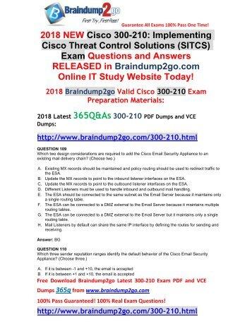 [2018-April-New]300-210 PDF and VCE Dumps 365q Free Share(109-119)