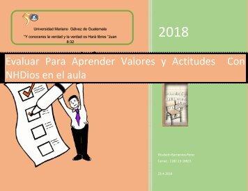Evaluación en Valores y Actitudes  de enseñanza aprendizaje