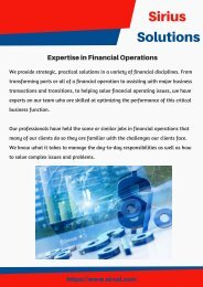 Expertise in Financial Operations - Sirius Solutions