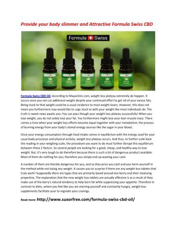 Boost up your Metabolism Level with Formula Swiss CBD Oil