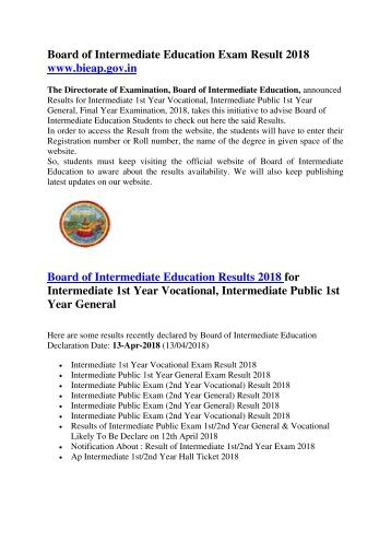 AP Board of Intermediate Education Exam Result 2018