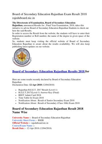 Board of Secondary Education Rajasthan Exam Result 2018  rajeduboard