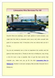 Limousine Hire Services For All