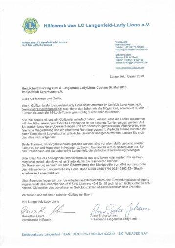 Einladung und Anmeldebogen Golfturnier Langenfeld-Lady Lions 2018