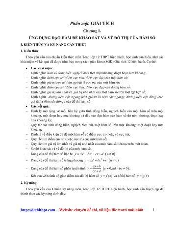 Bài tập GIẢI TÍCH + HÌNH HỌC - môn Toán LỚP 12 - Lời giải chi tiết (128 trang)