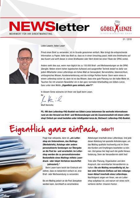 Göbel+Lenze Newsletter Ausgabe 01/2018