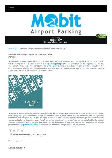 Enhance Travel Experience with Meet and Greet Parking