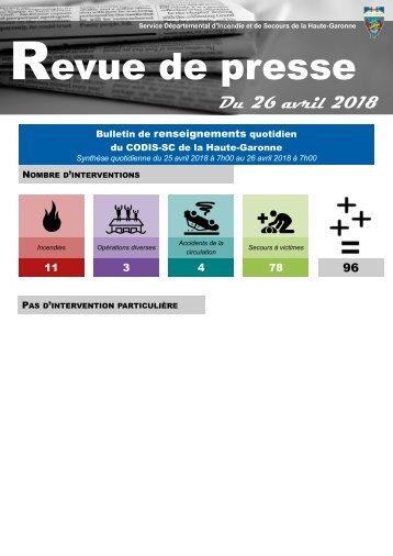 Revue de Presse du 26-04-2018