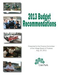 Presented to the Finance Committee of the Village Board of Trustees ...