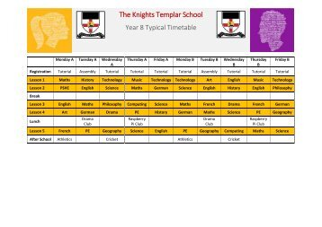 A Typical KTS Year 8 Timetable