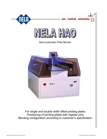 For single and double width offset printing plates ... - NELA USA