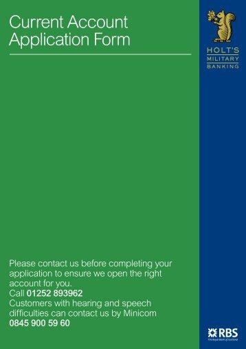 Current Account Application Form - RBS