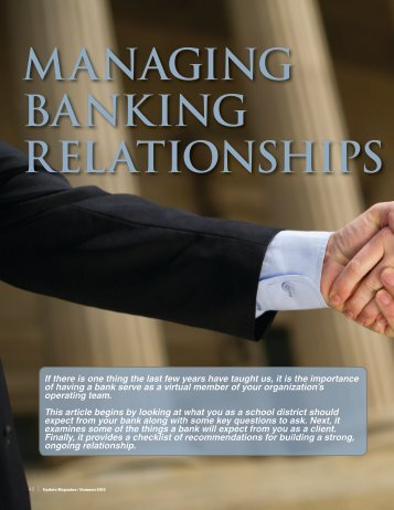 managing banking relationships - Illinois Association of School ...