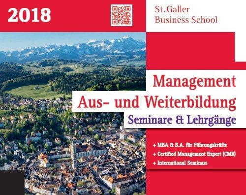 2018 SGBS Seminar und Ausbildungsprogramm für Führungskraefte