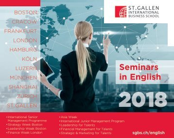 2018 Management Seminars in English, St. Gallen International Business School