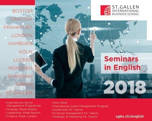 2018 Management Seminars in English, St. Gallen International Business School