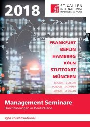 2018 Management Seminare (Durchführungen in Deutschland), St. Gallen International Business School