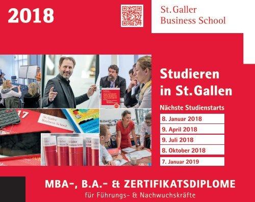 2018 MBA-, B.A.- & Zertifikatsdiplome für Führungs- & Nachwuchskräfte