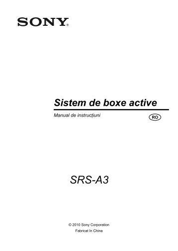 Sony SRS-A3 - SRS-A3 Mode d'emploi Roumain