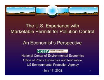 Marketable Permits or Trading programs - Environmental Protection ...