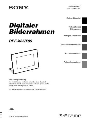 Sony DPF-X85 - DPF-X85 Consignes d'utilisation Allemand