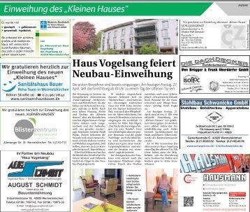 """Einweihung des """"Kleinen Hauses""""  -27.04.2018-"""