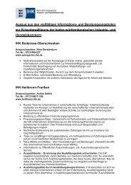 Auszug aus den vielfältigen Informations- und Beratungsangeboten ...