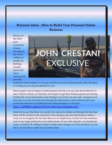 Business Ideas - How to Build Your Personal Online Business
