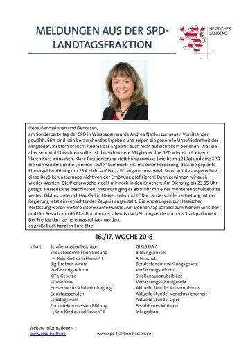 Meldungen aus der SPD-Landtagsfraktion (9)