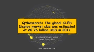 QYResearch: The global OLED Display market size was estimated at 20.76 billion USD in 2017