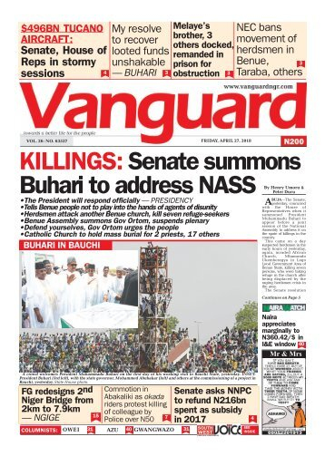 27042018 - KILLINGS: Senate summons Buhari to address NASS
