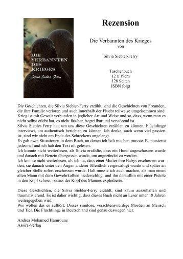 """Rezension """"Die Verbannten des Krieges"""" von Silvia Siebler Ferry"""