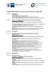 Programm Wirtschaftsforum China aus erster Hand am 14. März 2007