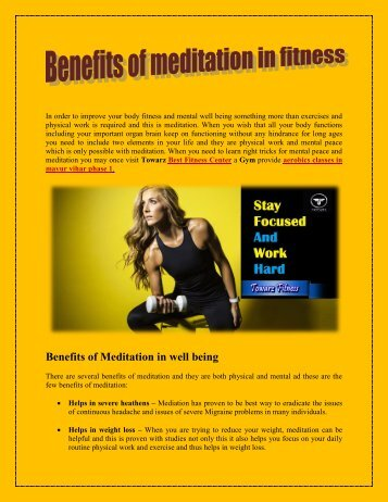 Benefits of meditation in fitness